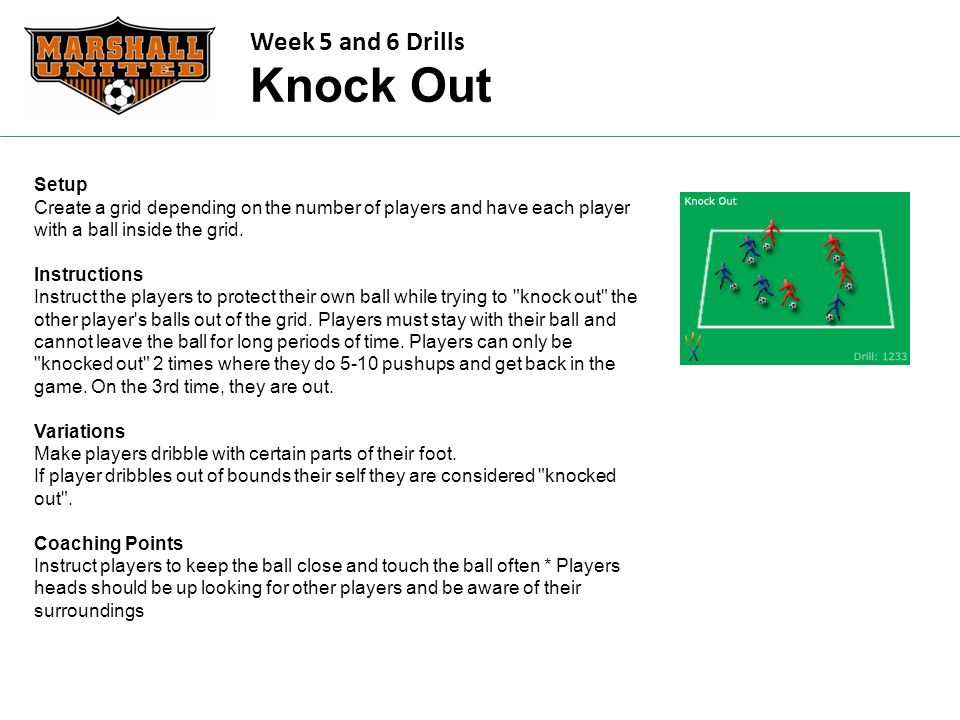 Week 5 and 6 Drills Knock Out Setup Create a grid depending on the number of players and have each player with a ball inside the grid. Instructions In