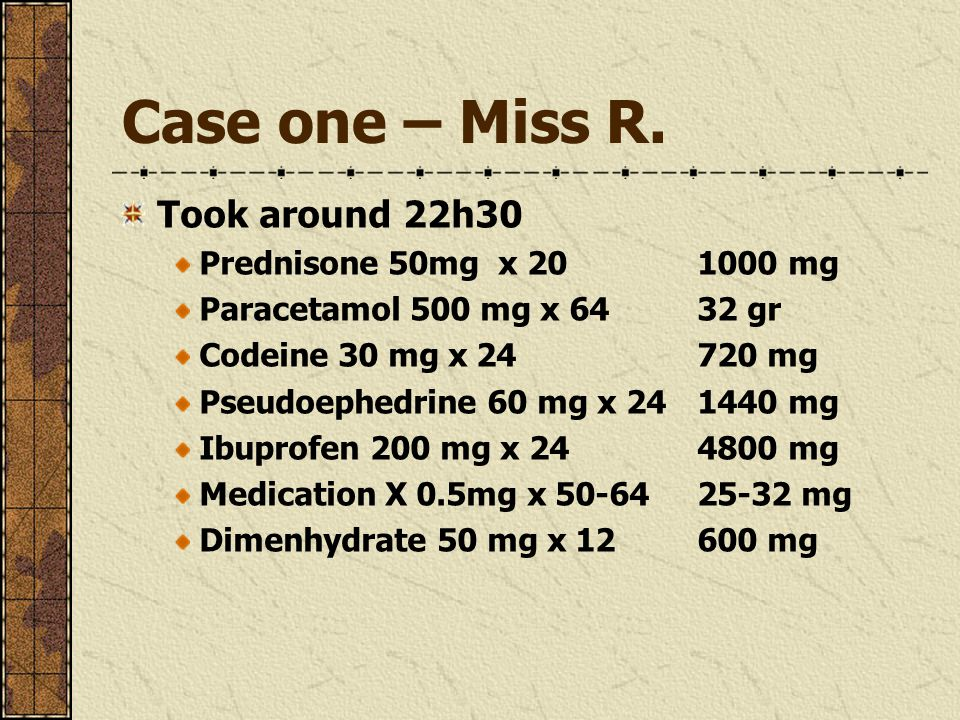 Case one – Miss R. Took around 22h30 Prednisone 50mg x 201000 mg Paracetamol 500 mg x 6432 gr Codeine 30 mg x 24720 mg Pseudoephedrine 60 mg x 24 1440