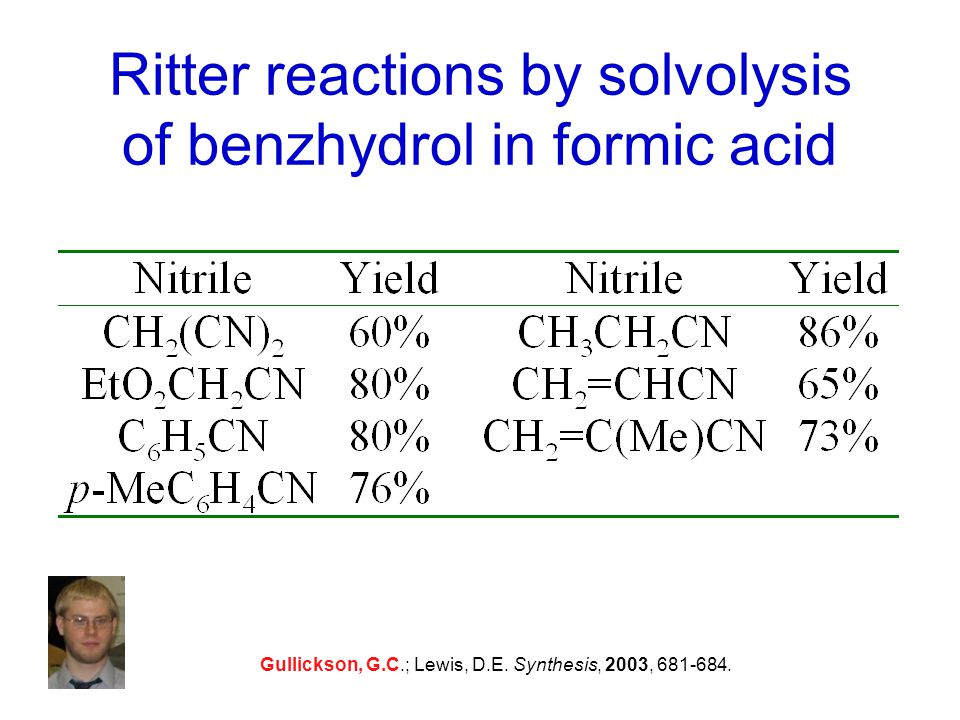 Ritter reactions by solvolysis of benzhydrol in formic acid Gullickson, G.C.; Lewis, D.E.