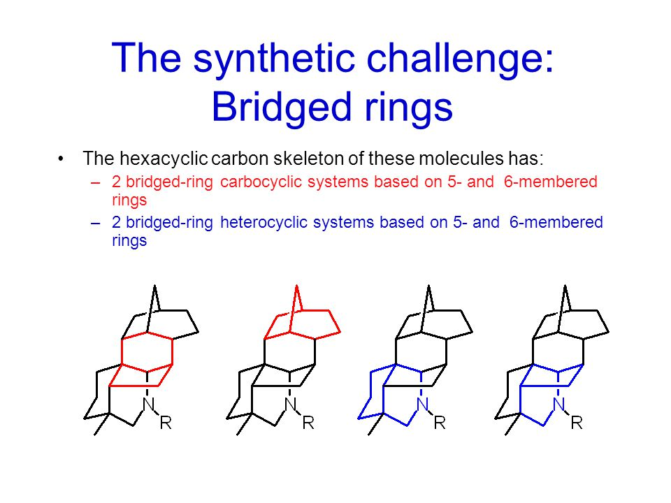 The hexacyclic carbon skeleton of these molecules has: –3 fused-ring carbocyclic systems based on 5- and 6- membered rings –1 fused-ring heterocyclic system ( a cis-perhydroquinoline) –1 spirocyclic ring system The synthetic challenge: Fused rings