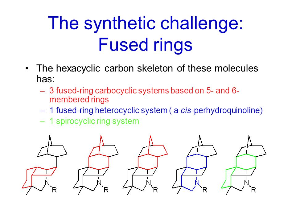 The synthetic challenge These molecules are densely functionalized –In aconitine, only 8 of the 19 skeletal carbon atoms do not carry a functional group; in cardopetaline (the simplest member of this class), 5 of 19 skeletal carbons still carry a functional group These molecules are densely populated with stereocenters –In cardiopetaline, only 7 of 19 skeletal carbons are not chiral centers (fortunately, all are not independent; in fact 9 chiral centers are fixed by the carbon skeleton)