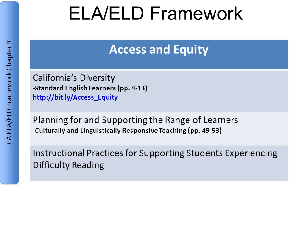 ELA/ELD Framework Access and Equity California's Diversity -Standard English Learners (pp.