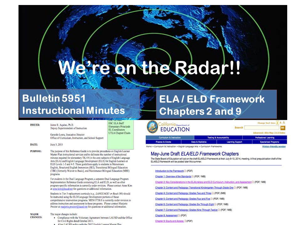 We're on the Radar!! Bulletin 5951 Instructional Minutes ELA / ELD Framework Chapters 2 and 9