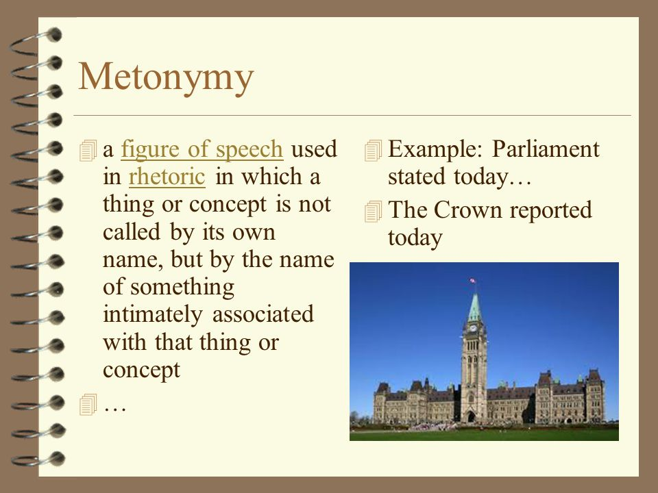 Metonymy 4 a figure of speech used in rhetoric in which a thing or concept is not called by its own name, but by the name of something intimately asso