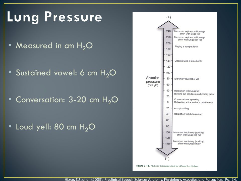 Measured in cm H 2 O Sustained vowel: 6 cm H 2 O Conversation: 3-20 cm H 2 O Loud yell: 80 cm H 2 O Hixon, T.J., et al.
