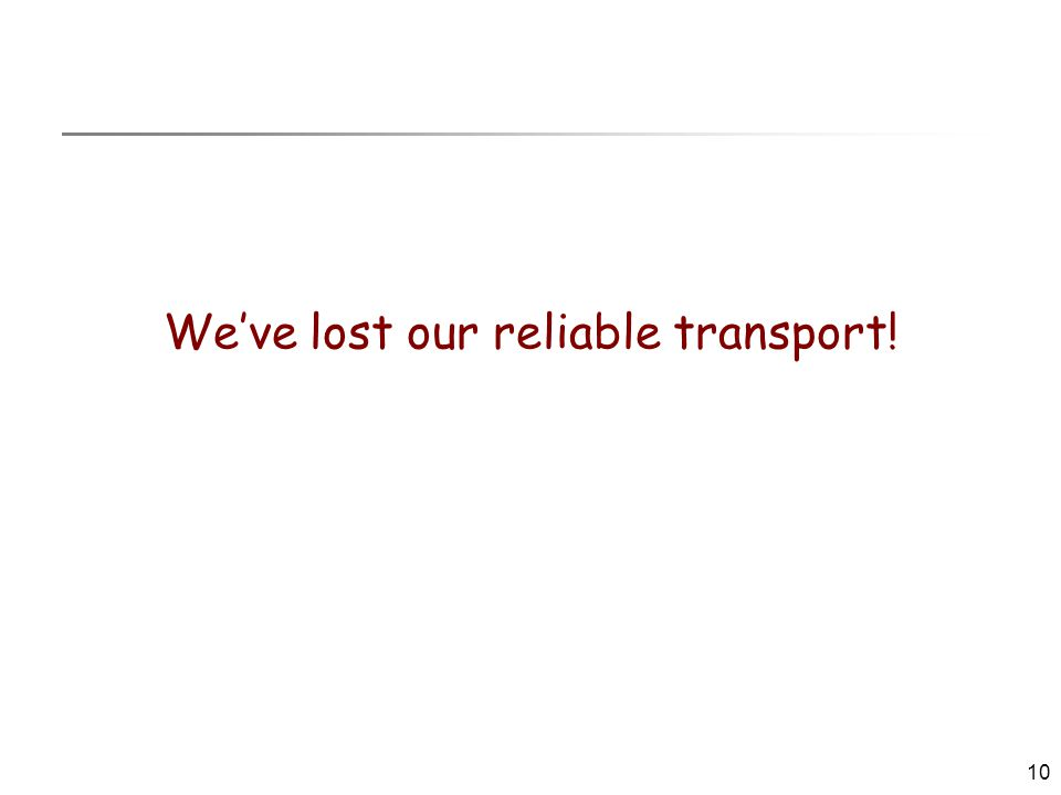 10 We've lost our reliable transport!