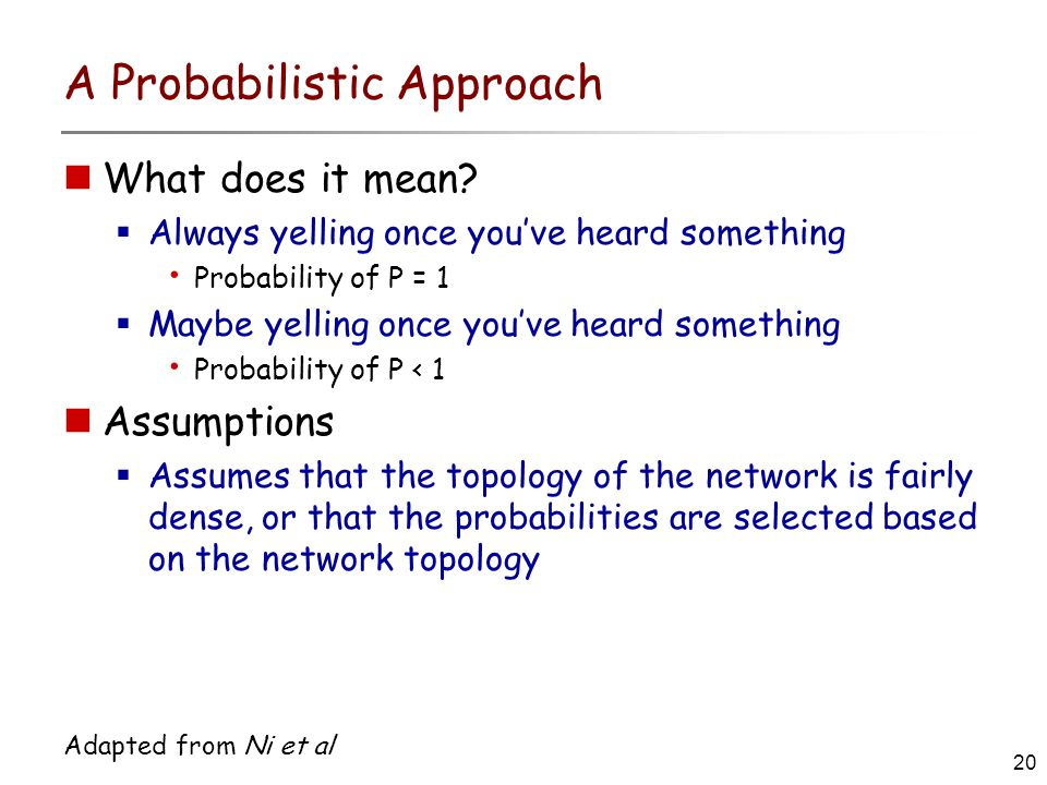 20 Adapted from Ni et al A Probabilistic Approach What does it mean.
