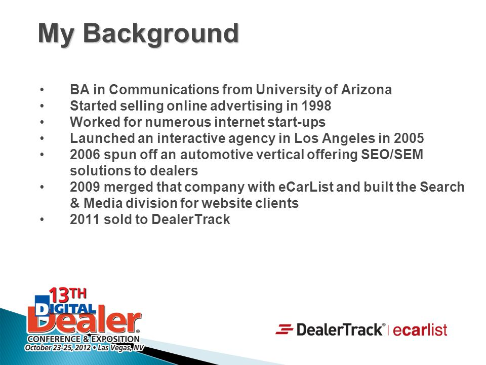 BA in Communications from University of Arizona Started selling online advertising in 1998 Worked for numerous internet start-ups Launched an interact