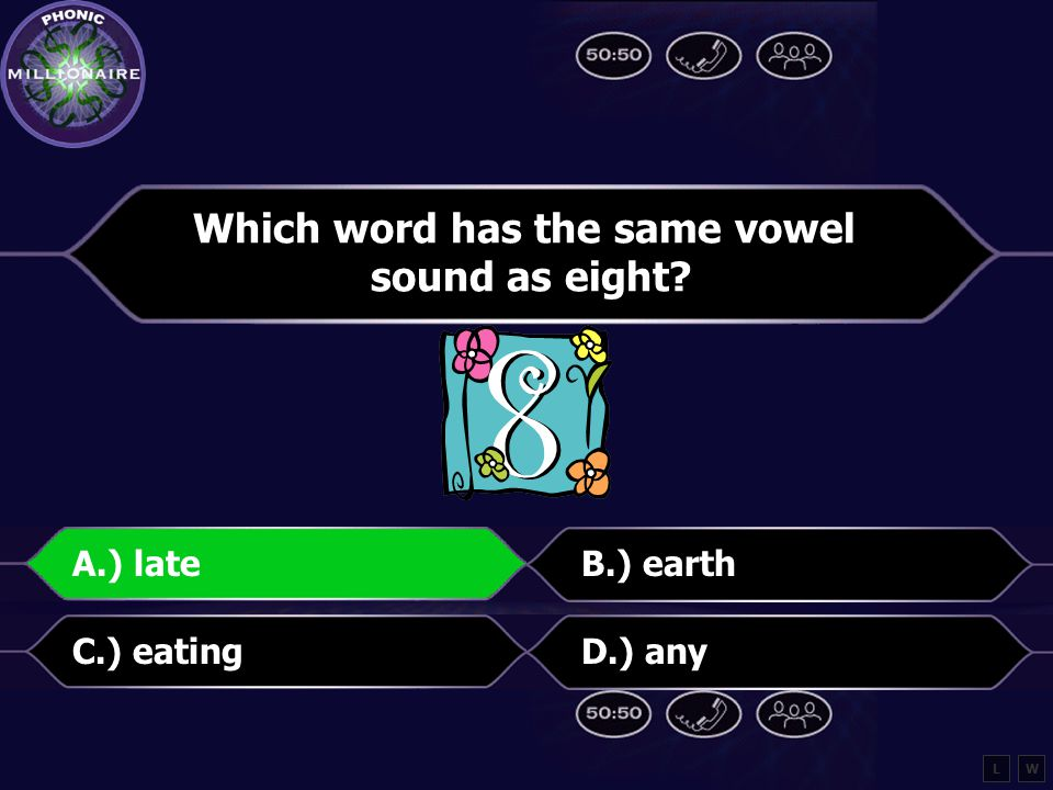 Which word has the same vowel sound as eight A.) lateB.) earth C.) eatingD.) any LW