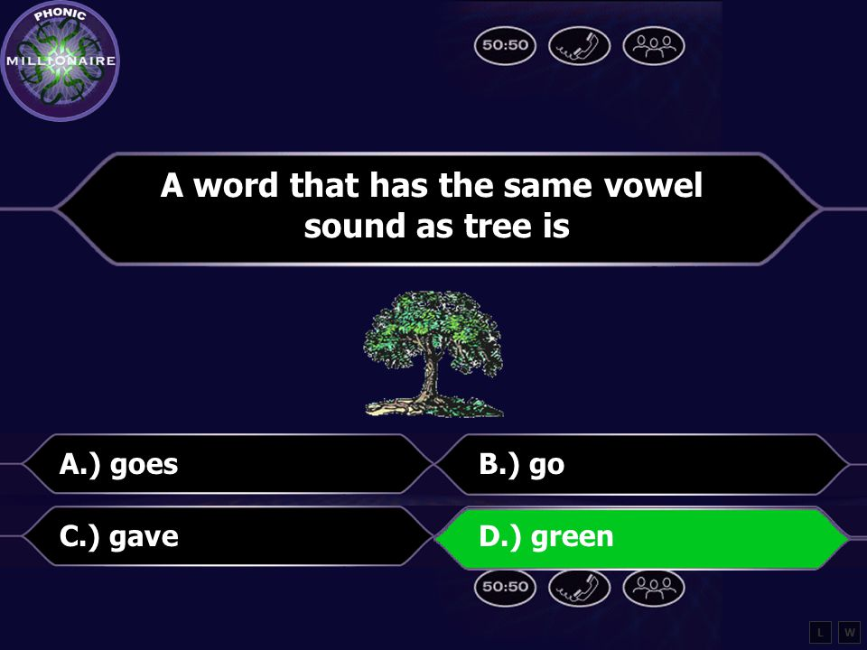A word that has the same vowel sound as tree is A.) goesB.) go C.) gaveD.) green LW