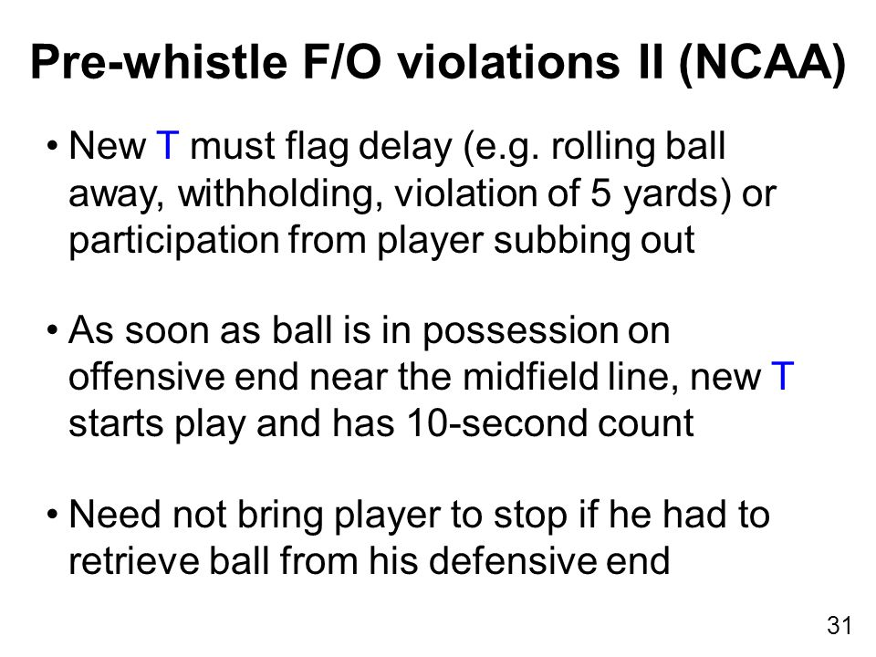 31 New T must flag delay (e.g. rolling ball away, withholding, violation of 5 yards) or participation from player subbing out As soon as ball is in po