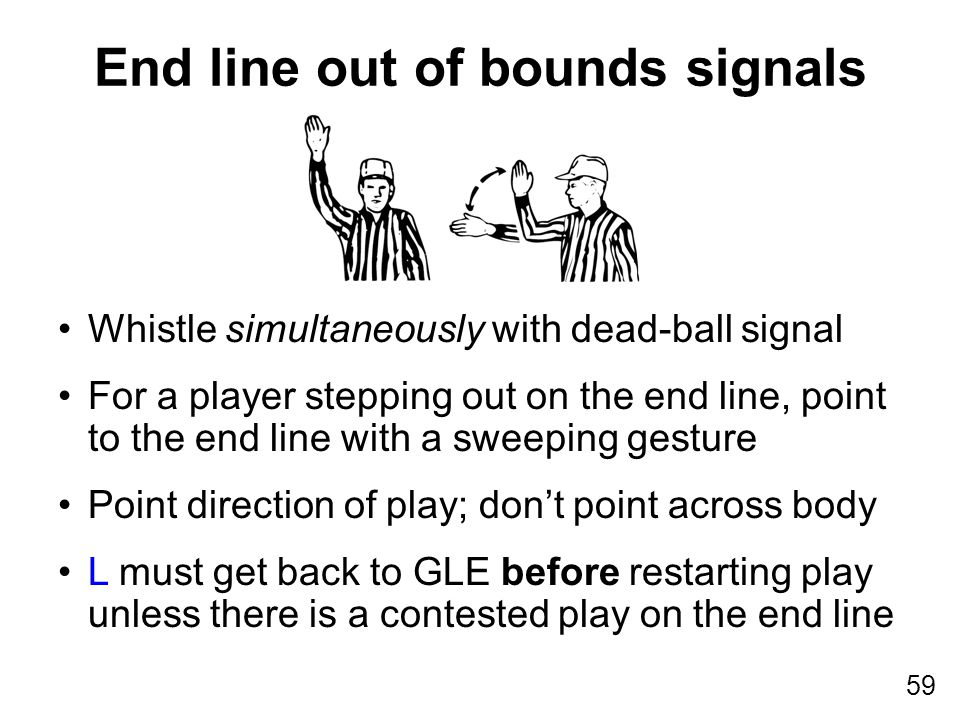 59 Whistle simultaneously with dead-ball signal For a player stepping out on the end line, point to the end line with a sweeping gesture Point directi