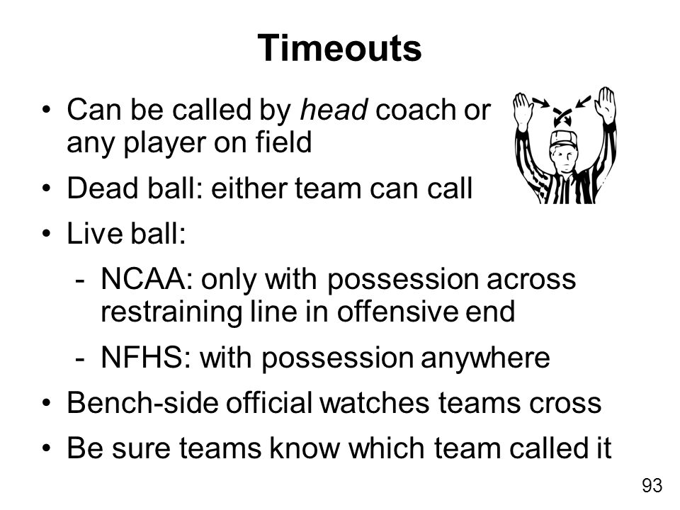 93 Can be called by head coach or any player on field Dead ball: either team can call Live ball: -NCAA: only with possession across restraining line i