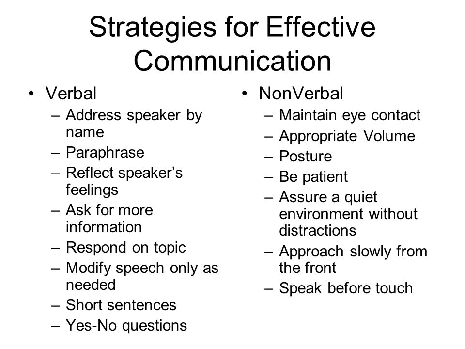 Barriers to Effective Communication in Dementia Care Individual Factors –Progressive loss of ability for meaningful communication (receptive, expressive, & internal talk) Health Care Environment Factors –Lack of Opportunities –Ignoring Talk –Task Talk –Elderspeak