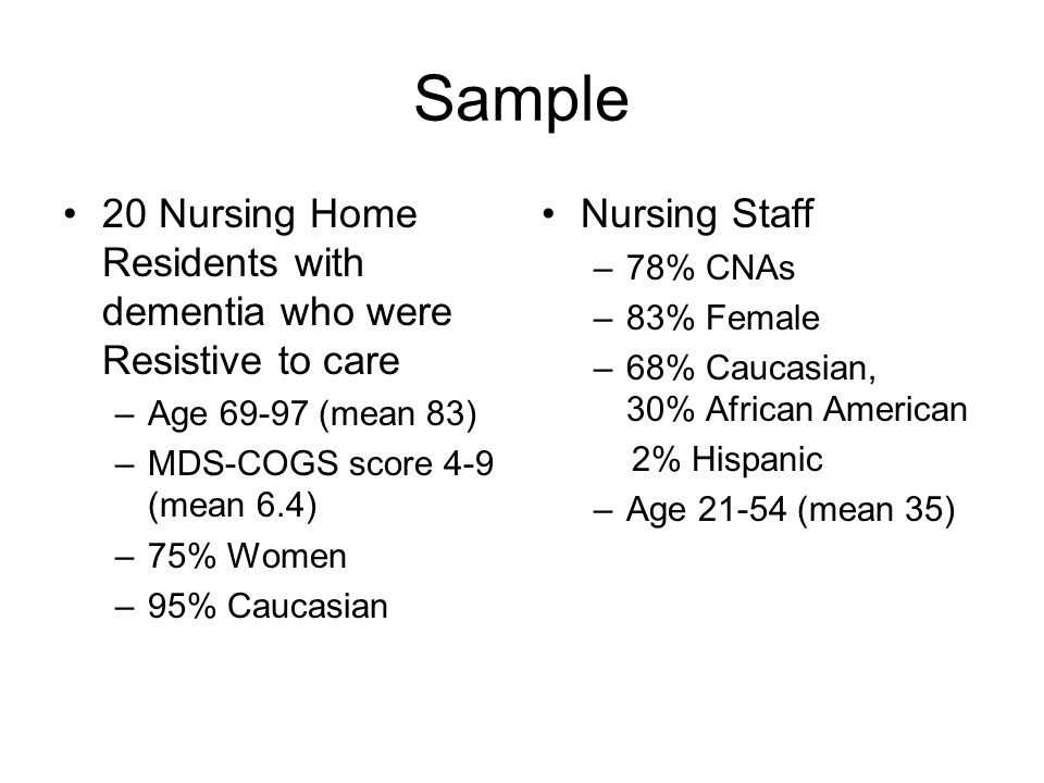 Elderspeak: Impact on Dementia Care Observational study funded by NINR/NIA Nursing home residents with dementia (N=20) were video recorded during daily care –Bathing –Oral Care –Dressing –Other 1-10 minute recordings were computer archived Computer-assisted behavioral analysis of temporal associations between –Resident Behavior and –Staff Communication