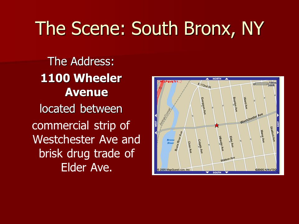 The Scene: South Bronx, NY The Address: 1100 Wheeler Avenue located between commercial strip of Westchester Ave and brisk drug trade of Elder Ave.