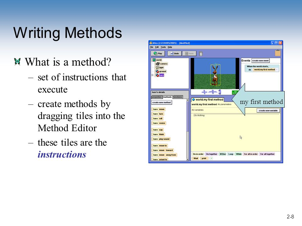 2-8 Writing Methods What is a method.