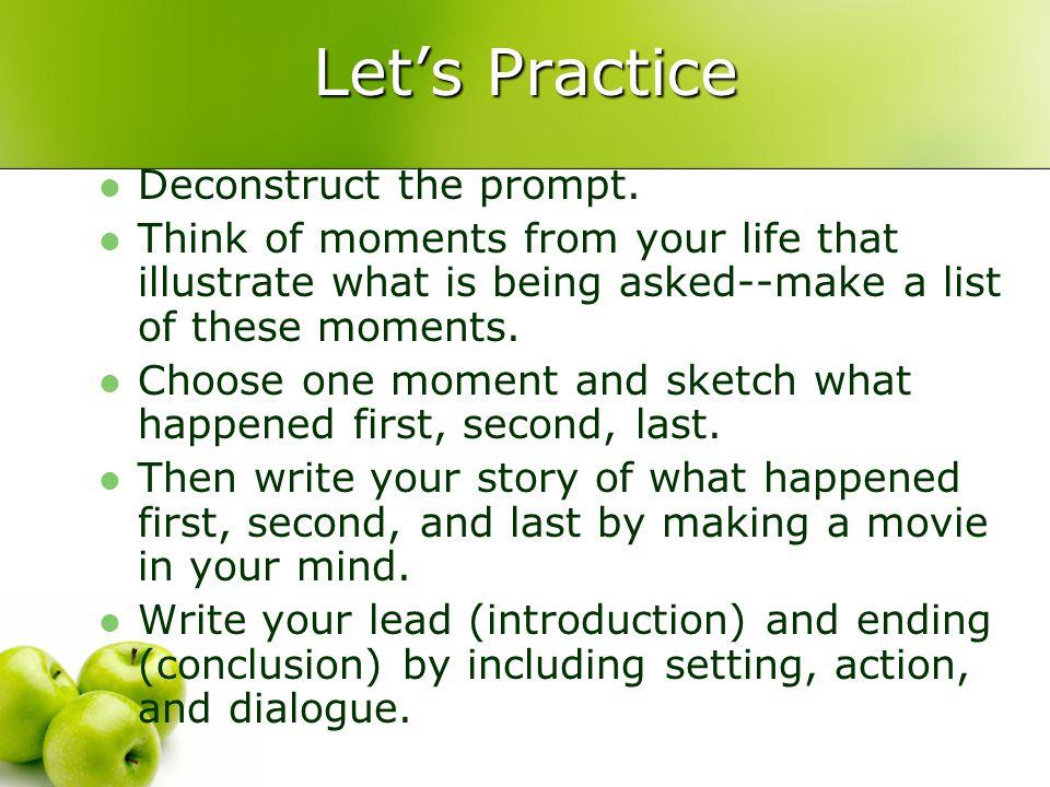 Let's Practice Deconstruct the prompt.
