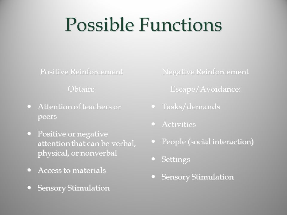 Possible Functions Positive Reinforcement Obtain: Attention of teachers or peers Attention of teachers or peers Positive or negative attention that can be verbal, physical, or nonverbal Positive or negative attention that can be verbal, physical, or nonverbal Access to materials Access to materials Sensory Stimulation Sensory Stimulation Negative Reinforcement Escape/Avoidance: Tasks/demands Tasks/demands Activities Activities People (social interaction) People (social interaction) Settings Settings Sensory Stimulation Sensory Stimulation