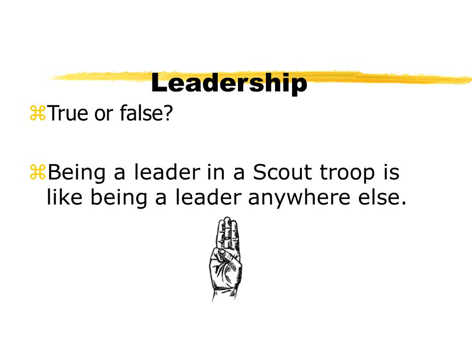 Leadership zTrue or false? zBeing a leader in a Scout troop is like being a leader anywhere else.