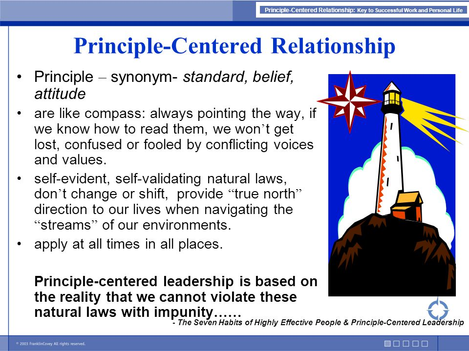 Principle-Centered Relationship: Key to Successful Work and Personal Life Principle-Centered Relationship Principle – synonym- standard, belief, attit