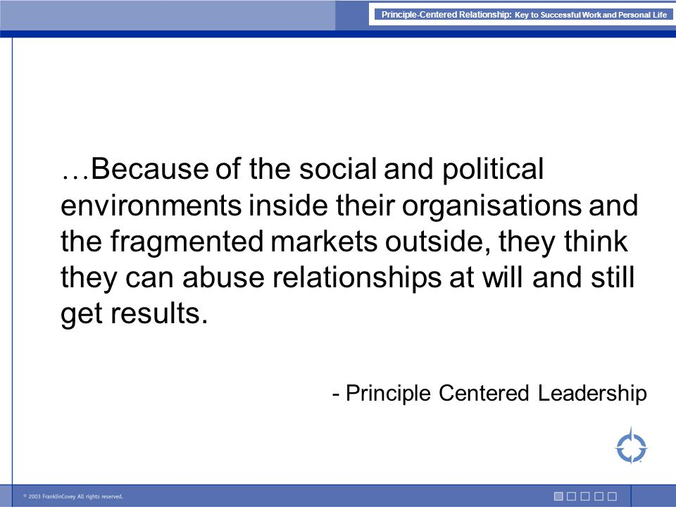 Principle-Centered Relationship: Key to Successful Work and Personal Life It Shall Be Character Ethic PERSONALITY CHARACTER Image First Impression Technique Strategies Tactics Skills Principles Values