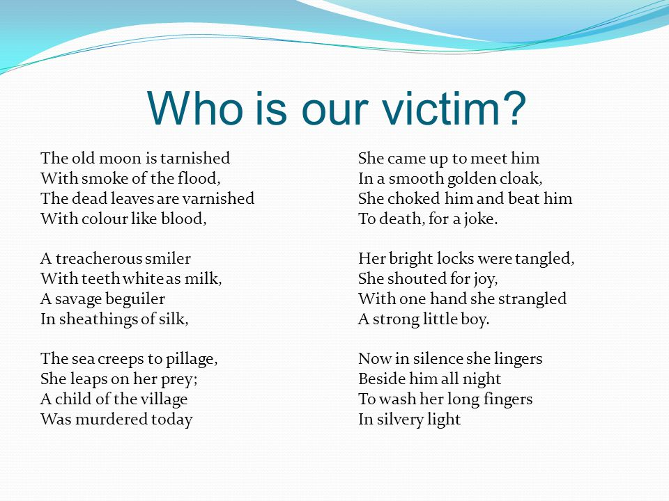 Who is our victim.