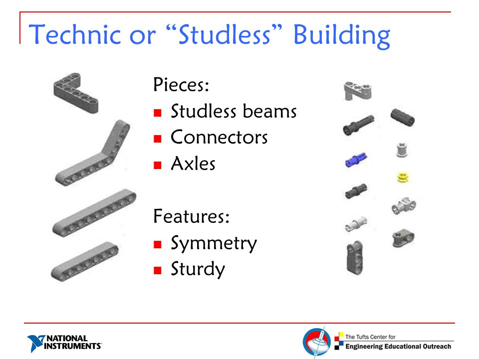 Technic or Studless Building Pieces: Studless beams Connectors Axles Features: Symmetry Sturdy