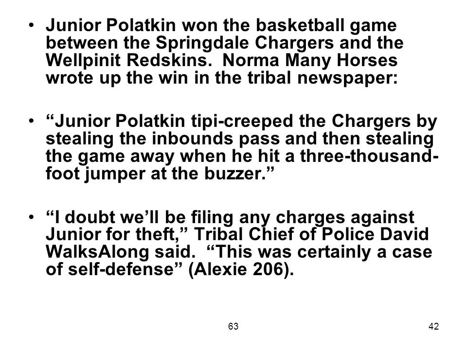 6342 Junior Polatkin won the basketball game between the Springdale Chargers and the Wellpinit Redskins.