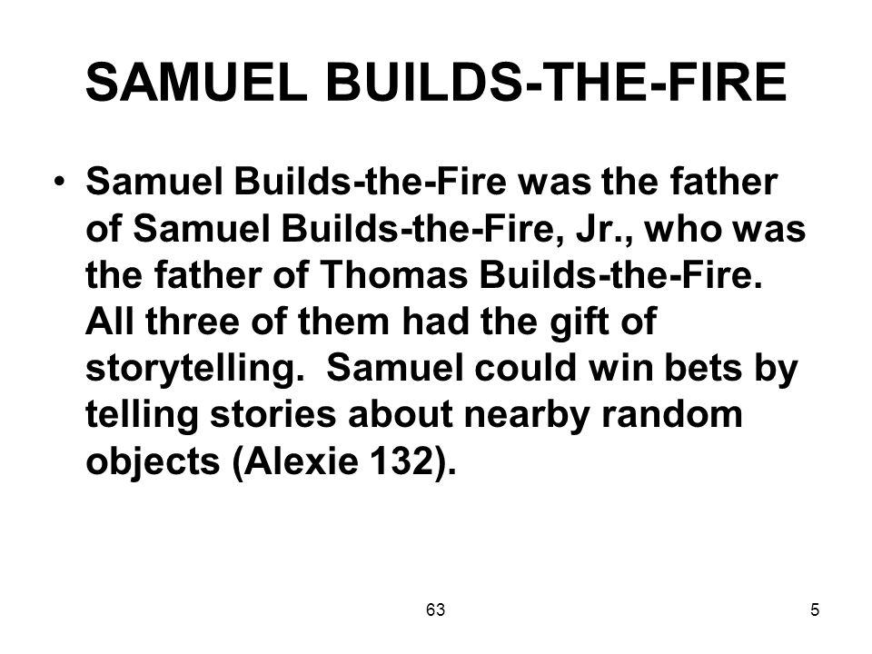 636 When all of his friends had died, and all of the younger Indians on the reservation had no time for his stories, Samuel felt like the horse must have felt when Henry Ford came along (Alexie 135).