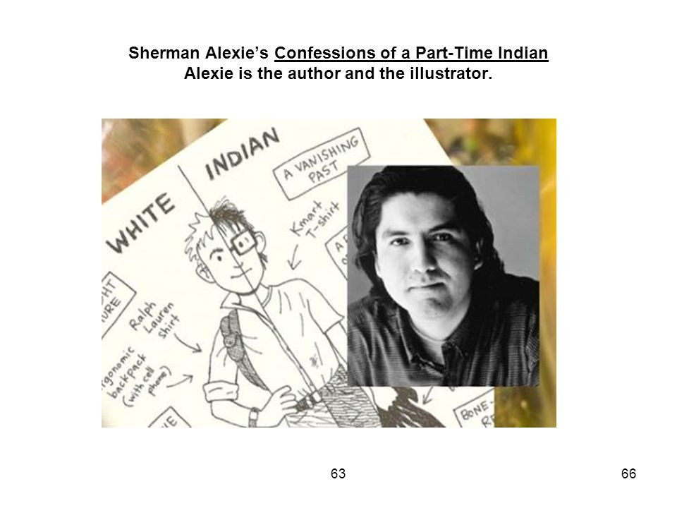 Sherman Alexie's Confessions of a Part-Time Indian Alexie is the author and the illustrator. 6366