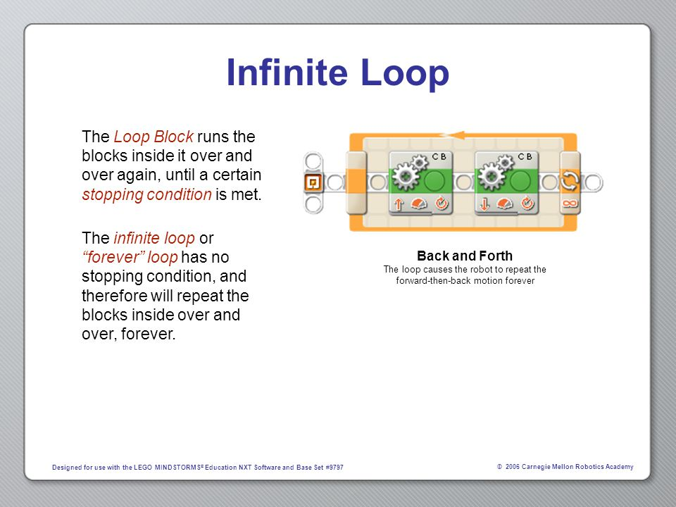 © 2006 Carnegie Mellon Robotics Academy Designed for use with the LEGO MINDSTORMS ® Education NXT Software and Base Set #9797 Infinite Loop The Loop B