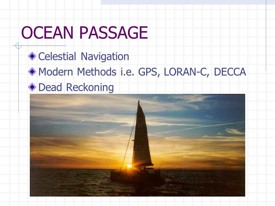 OCEAN PASSAGE Celestial Navigation Modern Methods i.e. GPS, LORAN-C, DECCA Dead Reckoning