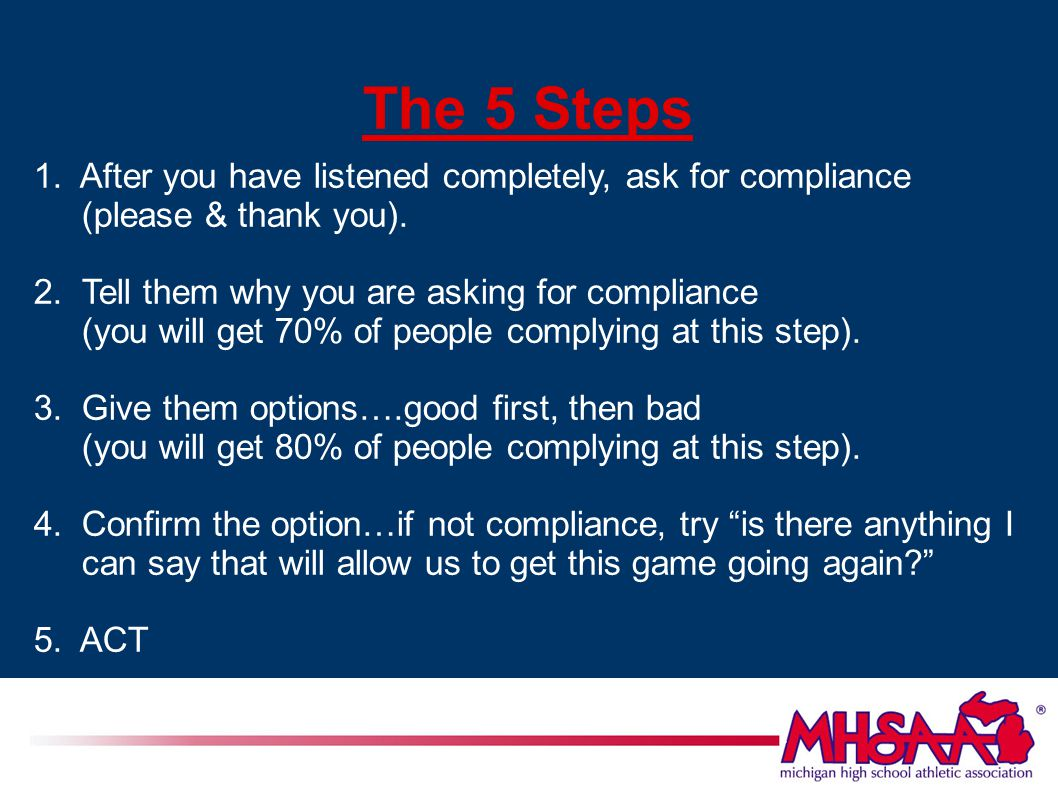 The 5 Steps 1. After you have listened completely, ask for compliance (please & thank you).