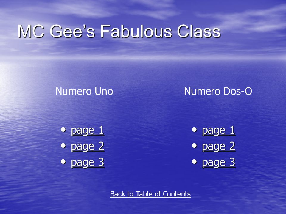 MC Gee's Fabulous Class page 1 page 1 page 1 page 1 page 2 page 2 page 2 page 2 page 3 page 3 page 3 page 3 page 1 page 1 page 1 page 1 page 2 page 2 page 2 page 2 page 3 page 3 page 3 page 3 Numero UnoNumero Dos-O Back to Table of Contents