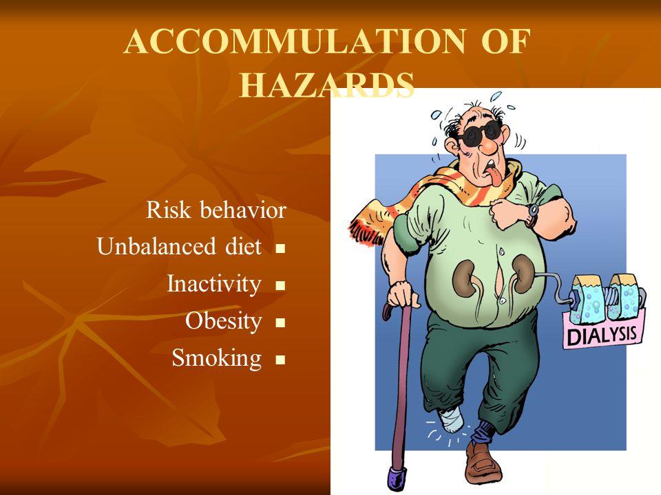 15 ACCOMMULATION OF HAZARDS Risk behavior Unbalanced diet Inactivity Obesity Smoking