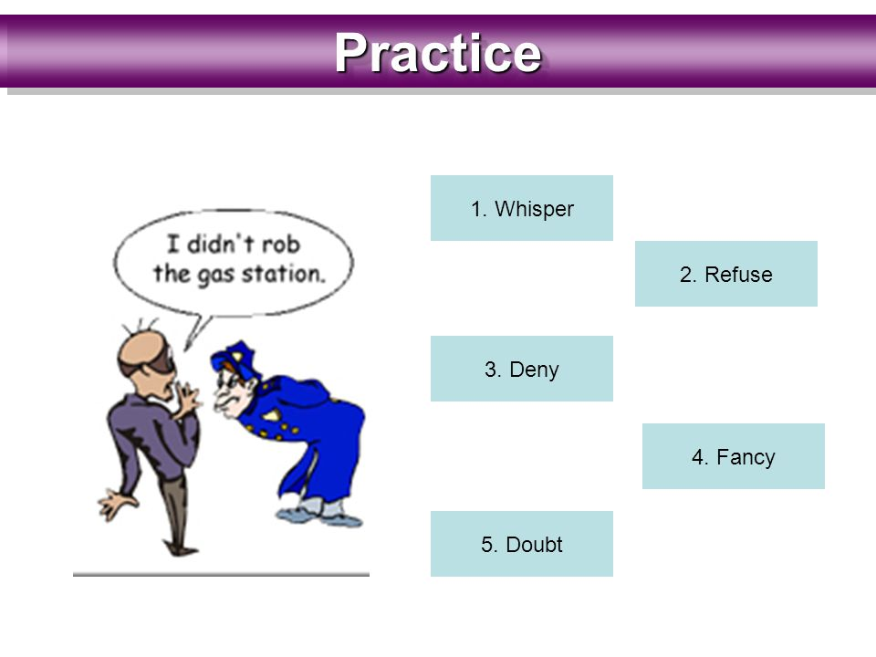 PracticePractice 1. Whisper 2. Refuse 3. Deny 4. Fancy 5. Doubt