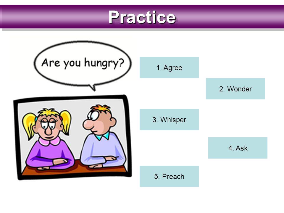PracticePractice 1. Agree 2. Wonder 3. Whisper 4. Ask 5. Preach