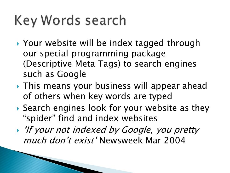  Your website will be index tagged through our special programming package (Descriptive Meta Tags) to search engines such as Google  This means your