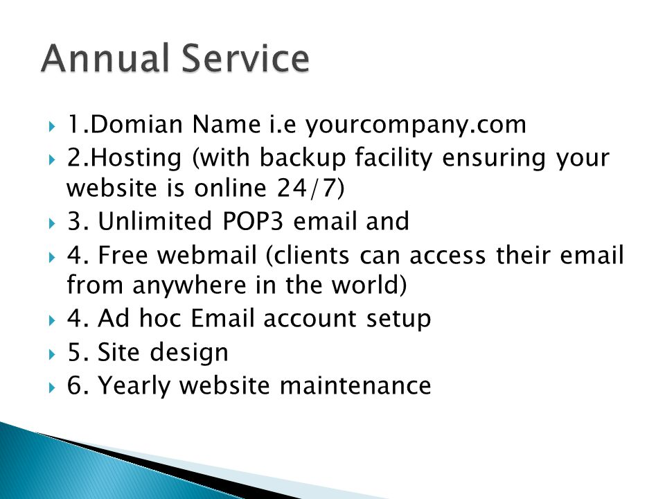  1.Domian Name i.e yourcompany.com  2.Hosting (with backup facility ensuring your website is online 24/7)  3. Unlimited POP3 email and  4. Free we
