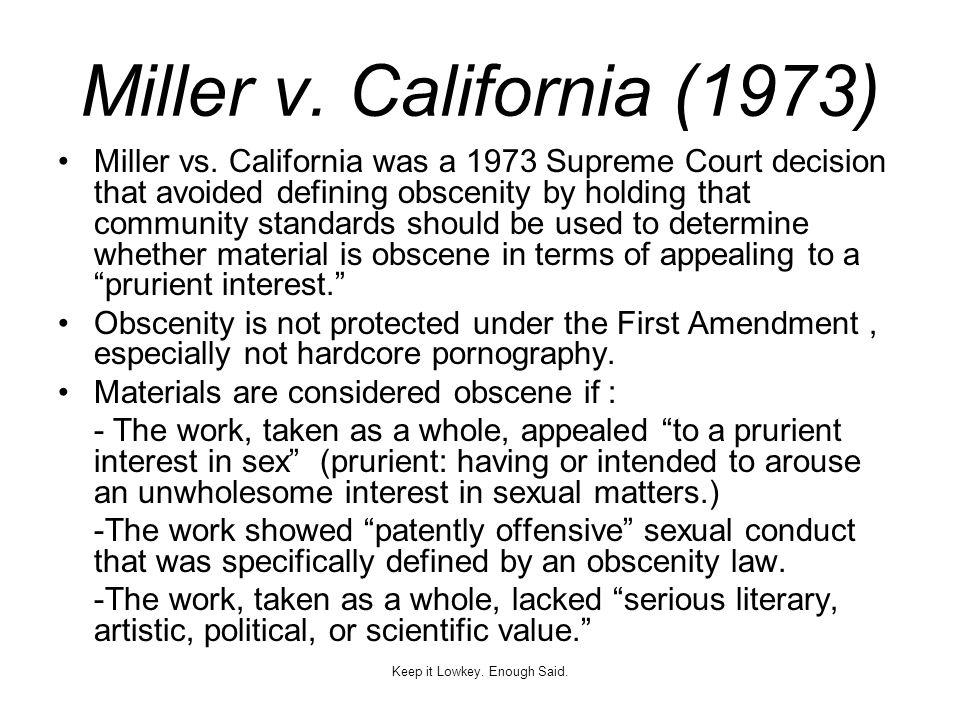 Miller v.California (1973) Miller vs.