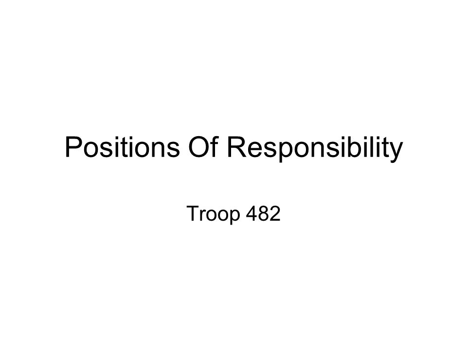 Positions Of Responsibility Troop 482
