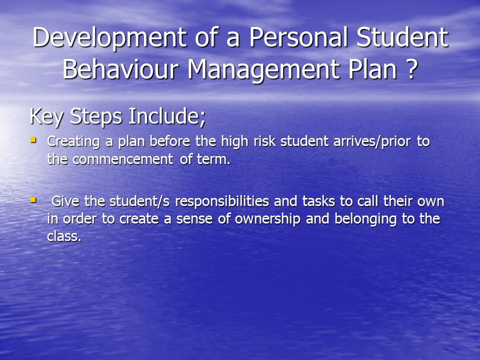 Development of a Personal Student Behaviour Management Plan .