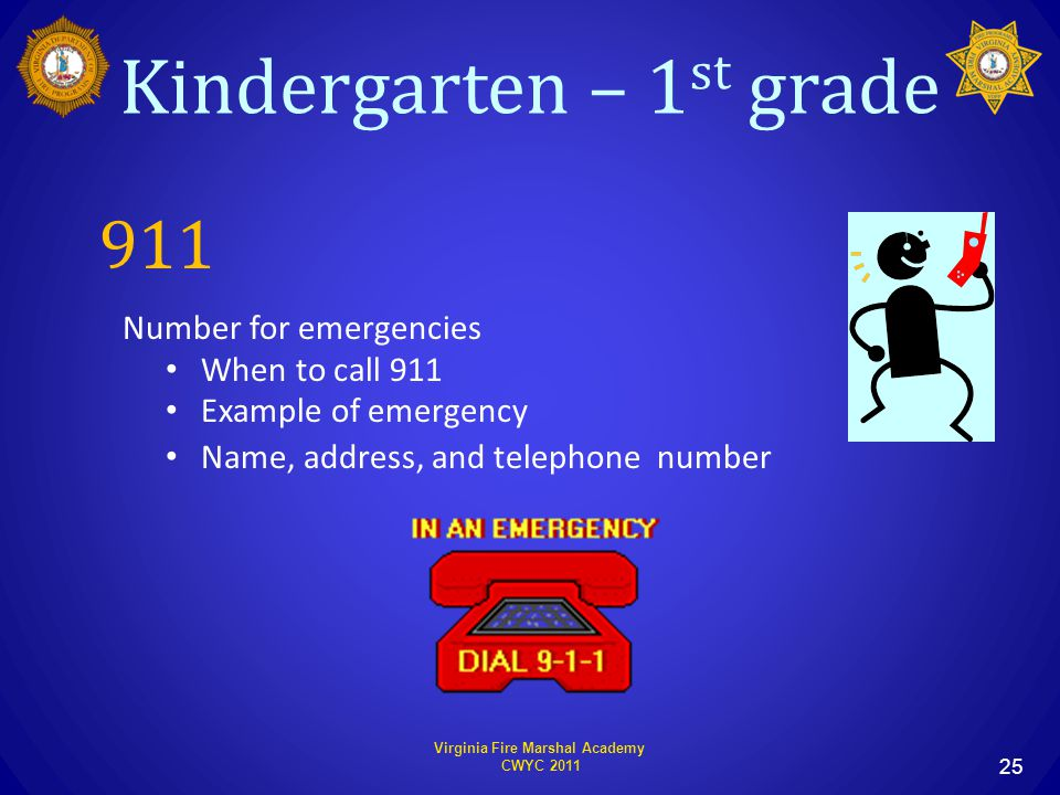 Virginia Fire Marshal Academy CWYC 2011 25 911 Number for emergencies When to call 911 Example of emergency Name, address, and telephone number Kindergarten – 1 st grade