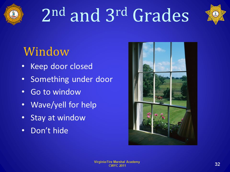 2 nd and 3 rd Grades Virginia Fire Marshal Academy CWYC 2011 32 Window Keep door closed Something under door Go to window Wave/yell for help Stay at window Don't hide