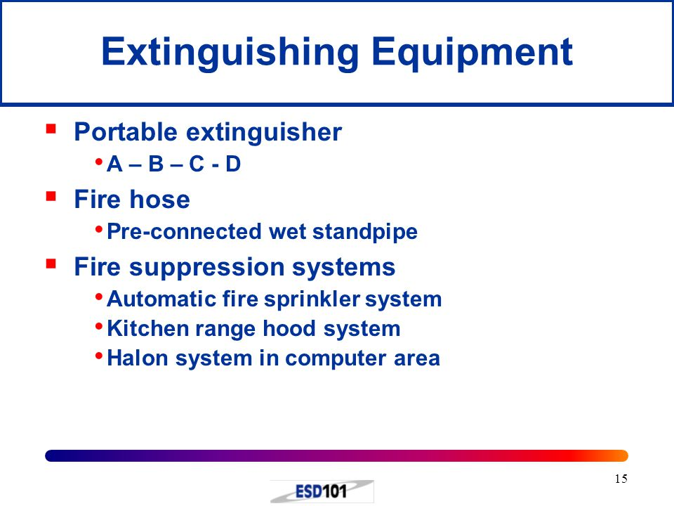 15 Extinguishing Equipment  Portable extinguisher A – B – C - D  Fire hose Pre-connected wet standpipe  Fire suppression systems Automatic fire sprinkler system Kitchen range hood system Halon system in computer area