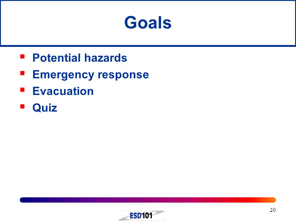 20 Goals  Potential hazards  Emergency response  Evacuation  Quiz