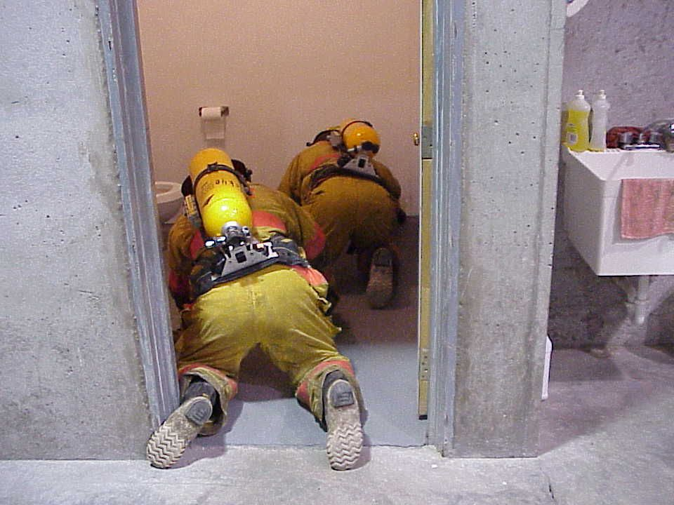 Large area search Technique In larger rooms you can use webbing or a short rope to keep contact with your team.