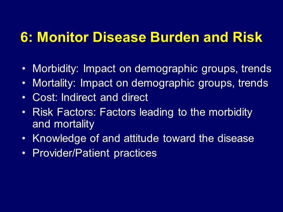 6: Monitor Disease Burden and Risk Morbidity: Impact on demographic groups, trends Mortality: Impact on demographic groups, trends Cost: Indirect and direct Risk Factors: Factors leading to the morbidity and mortality Knowledge of and attitude toward the disease Provider/Patient practices
