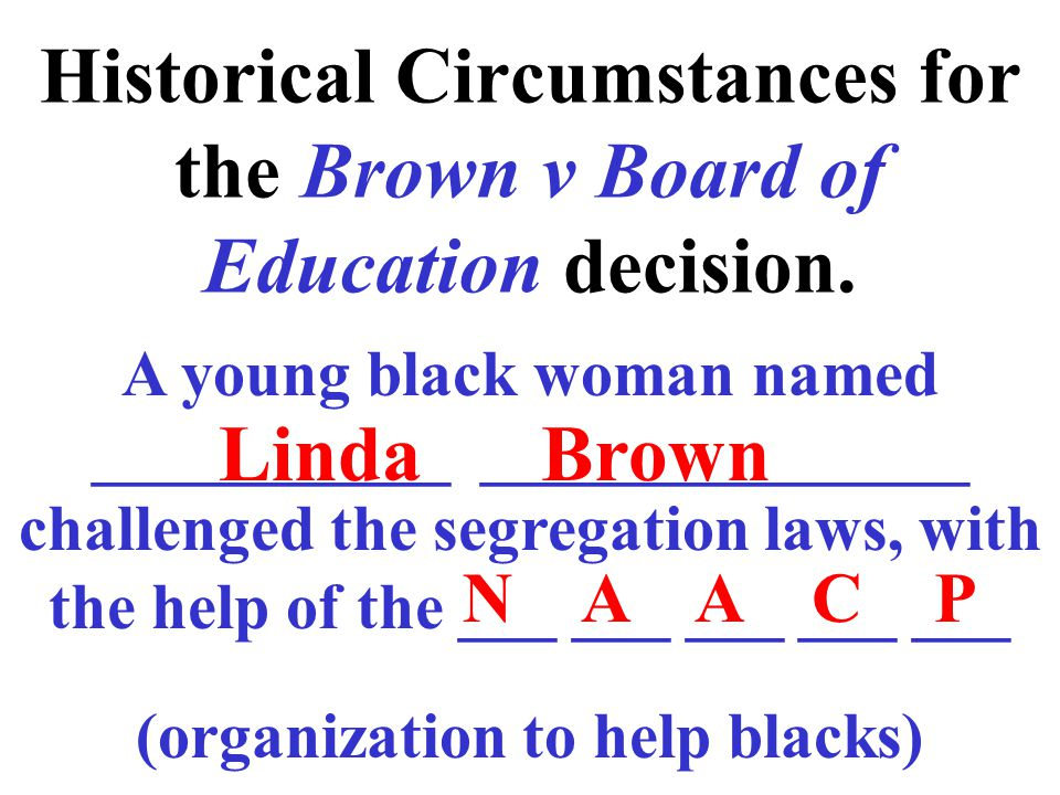 Historical Circumstances for the Brown v Board of Education decision.